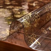 欧式餐桌垫茶几隔热垫pvc防水防烫印花塑料胶垫板软玻璃桌布 花色 黑金夹花1mm