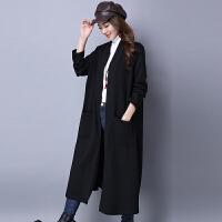 长款风衣秋装新款民族风女装纯色长袖针织开衫加厚大码外套