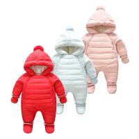 羽绒连体衣白鸭绒男女宝宝冬季外出服爬服哈衣婴儿羽绒服冬装加厚