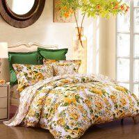 富安娜家纺 清新明亮印花床上用品套件 纯棉斜纹温暖舒适四件套