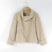 CA0734精品秋冬新款拉链显瘦女纯色羊羔绒一体鹿皮绒短款外套