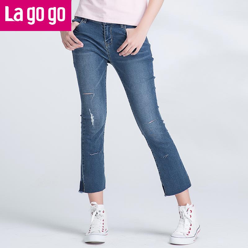 【两件5折后价114.5】Lagogo拉谷谷2017年夏季新款女装百搭微喇破洞牛仔裤女毛边裤子潮GANN434C45