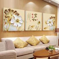 新中式客厅装饰画沙发背景挂画墙面上荷花九鱼图壁画现代简约三联SN6207 80*80(大于4M沙发) 高档水晶膜(非玻