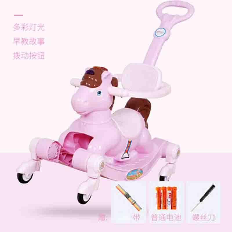 小木马音乐儿童摇马 摇摇马宝宝两用塑料婴儿骑马玩具一岁女孩