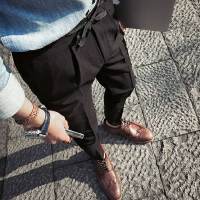 春季休闲裤男韩版修身弹力小脚裤男士哈伦裤黑色显瘦长裤男西裤潮