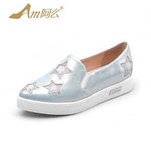 【17新品】阿么韩版星星乐福鞋子舒适低跟休闲鞋尖头懒人鞋女潮