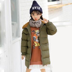 乌龟先森 棉服 女童长袖中长款过膝加厚上衣冬季新款韩版儿童时尚休闲舒适百搭中大童外套