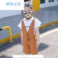 女童背带裤套装中大童韩版夏季洋气短袖阔腿裤两件套童装2018新款