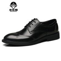 米乐猴 潮牌男鞋男皮鞋雕花商务正装时尚复古青年英伦尖头婚鞋大码男鞋