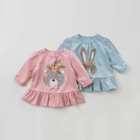 [2件3折价:47.1]戴维贝拉春季新款女童印花T恤宝宝裙式上衣DBM9858
