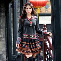 秋装新款 民族风女装长袖上衣修身印花中国风T恤拼接棉打底衫