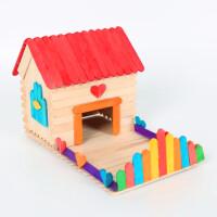 雪糕棒�和�手工制作diy模型小屋材料包幼��@益智拼�b玩具 ��b不�аb�小房子3 偏深