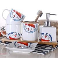 卫浴五件套陶瓷洗漱套装卫生间浴室用品刷牙杯情侣漱口杯套装 叮当猫 手柄五件套+1竹托盘