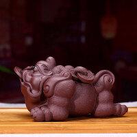 宜兴紫砂茶宠金蟾摆件精品可养三足金蟾雕塑功夫创意茶玩配件 紫泥 紫砂茶宠--1