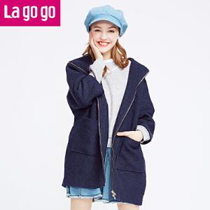Lagogo冬季新款连帽毛呢外套女呢子大衣韩版中长款秋冬女装