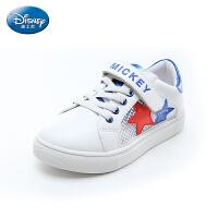 【99元任选2双】迪士尼Disney童鞋18新款儿童运动男童鞋星星休闲板鞋魔术贴女童小白鞋单网 (5-10岁可选) S
