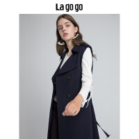 【秒杀价149.7】Lagogo/拉谷谷2019年秋季新款时尚通勤OL双排扣马甲HCWW137M53