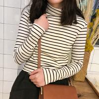 高领加绒打底衫女秋冬季长袖加厚条纹上衣新款修身内搭保暖T恤