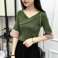 秋季新款V领交叉七分袖上衣打底衫韩版宽松拼色喇叭袖针织女毛衣