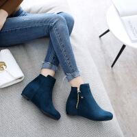 彼艾2017秋冬新款内增高短靴女平底坡跟裸靴英伦风百搭磨砂及踝靴女靴子