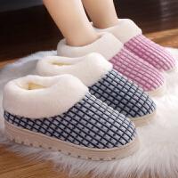 厚底防滑保暖室内棉拖鞋女居家包跟男秋冬季产后月子情侣家居棉鞋