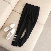 大码女装冬装新款裤脚条纹贴布加绒加厚高腰小脚裤哈伦裤长裤