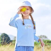 小猪班纳童装儿童T恤女童春季长袖2021新款百搭儿童圆领休闲上衣