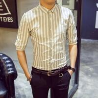 男士短袖衬衫五分袖条纹修身寸衣帅气中袖衬衣男潮