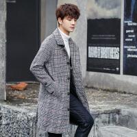 青少年毛呢大衣男士披风外套秋冬装韩版修身潮流中长款风衣
