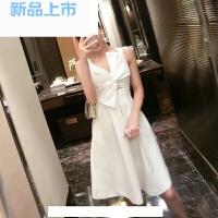 实拍女装立体蝴蝶结性感收腰礼服白色气质连衣裙