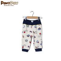 【2件2.5折 到手价:75元】 Pawinpaw宝英宝韩国小熊童装春季款全棉卡通小熊拼接卫裤