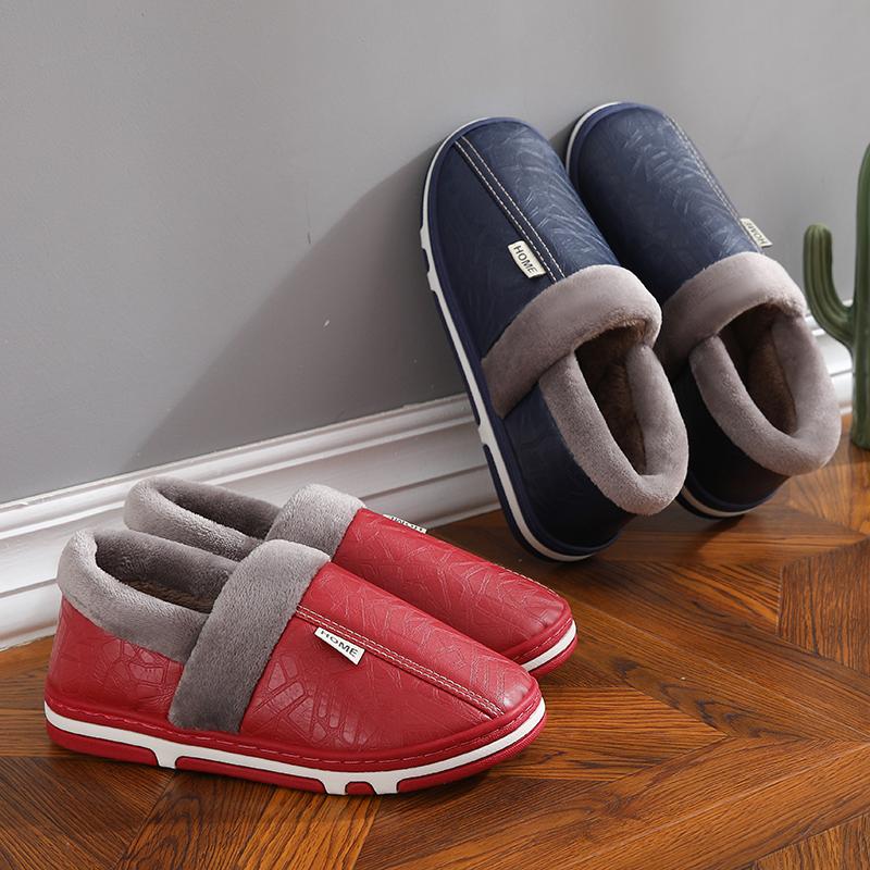 泰蜜熊情侣款PU皮革防水保暖防滑3.2cm加厚PVC大底男女款棉拖鞋室内外可穿居家棉拖鞋支持礼品卡+积分抵现