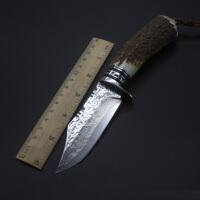 spike 大马士革钢刀直刀 高硬度锋利手工刀野营登山求生鹿角猎刀收藏礼品实用一体刀具