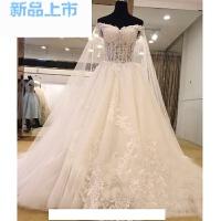 婚纱礼服新娘2018韩式一字肩宫廷v领齐地长袖长拖尾春季披纱