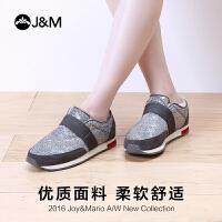 jm快乐玛丽女鞋冬季保暖加绒运动休闲鞋棉鞋女士懒人鞋一脚蹬布鞋