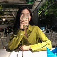 2018春新款bf风oversize韩版纯色白衬衣女中长款宽松百搭长袖衬衫