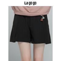 Lagogo/拉谷谷2019年冬季新款时尚优雅女休闲短裤HCKK13XC61