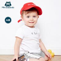 迷你巴拉巴拉婴童纯棉上衣2018年夏装新款男童女童宝宝短袖T恤