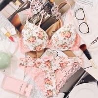 2018新款文胸套装日系少女碎花厚薄款无痕甜美印花内衣内裤聚拢性感胸罩