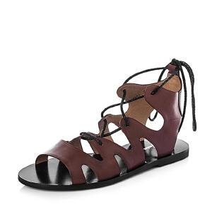 Bata/拔佳夏季牛皮时尚平跟女凉靴AR901BB6