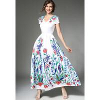 范冰冰同款夏季新款走秀款女装欧货印花连衣裙腰间V领长裙