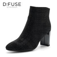 【领券减100】迪芙斯(D:FUSE)冬季专柜同款绒面羊皮革高跟女短靴DF84116150
