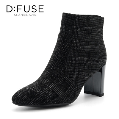迪芙斯(D:FUSE)冬季专柜同款绒面羊皮革高跟女短靴DF84116150