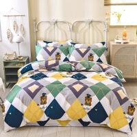 伊迪梦家纺 全棉活性简约时尚三四件套床单/床笠式床上用品 高支高密纯棉面料单双人床型QX516