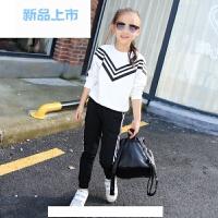 女童套装春装2018新款中大童时髦韩版运动服洋气儿童装春季两件套