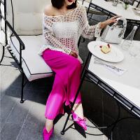 春装新款韩版时尚性感V领长袖宽松显瘦镂空针织衫罩衫毛衣