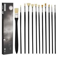 黑骑士套装美术专用黑金版画笔斜峰平头套装勾线水粉笔刷子丙烯扇形笔油画笔礼盒装学生用水彩画笔的