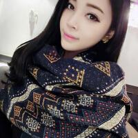 新款围巾女 百搭超长围脖 韩国秋冬季民族风 几何加厚披肩两用