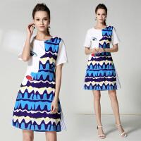 新款夏天连衣裙韩版修身显瘦高腰短裙拼接眼睛对条印花雪纺A字裙