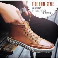 2017夏季新品男士休闲鞋英伦风复古擦色板鞋高帮男鞋软底皮鞋8733JLF支持